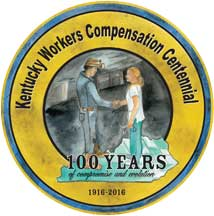 A golden circular seal commemorating 100 years of workers' compensation efforts in the State of Kentucky.